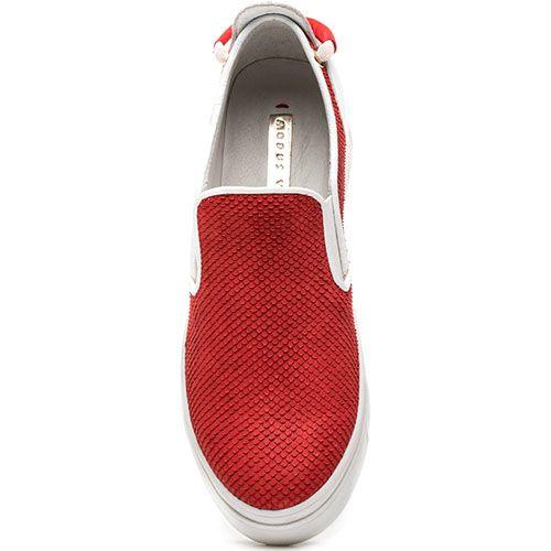 Слипоны Modus Vivendi красно-белые из фактурной кожи, фото