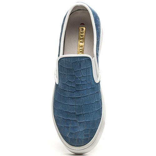 Слипоны Modus Vivendi синего цвета с имитацией кожи рептилии, фото