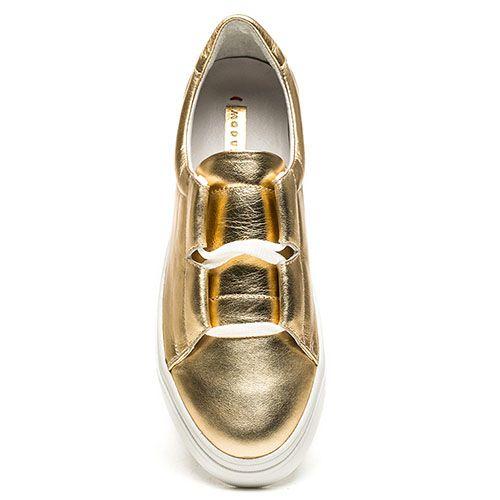 Кожаные слипоны золотистого цвета Modus Vivendi, фото
