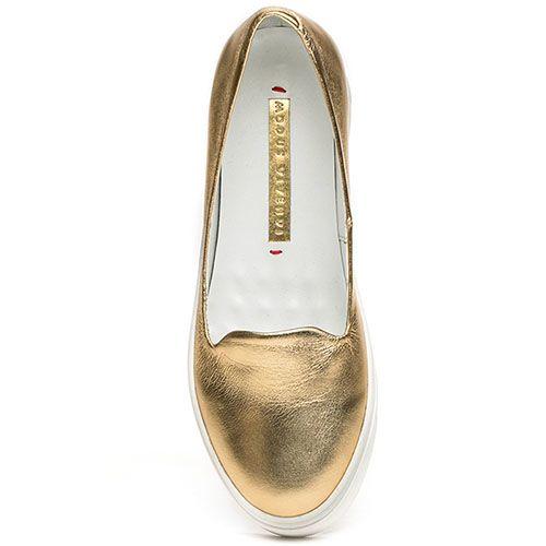Женские слиперы Modus Vivendi золотого цвета на белой подошве, фото