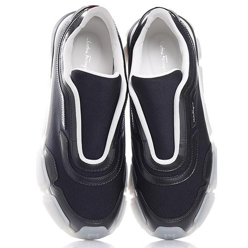 Черные кроссовки Salvatore Ferragamo на рельефной подошве, фото
