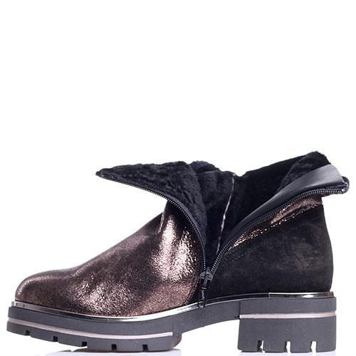 Ботинки Tine's золотистого цвета с текстильными элементами, фото
