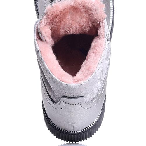 Ботинки Tine's серебристого цвета на меху, фото