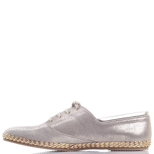 Золотистые туфли Gianni Famoso с плетением вдоль подошвы, фото