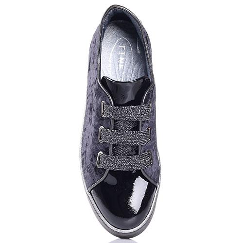 Бархатные кеды Tine's синего цвета с лаковым носком, фото