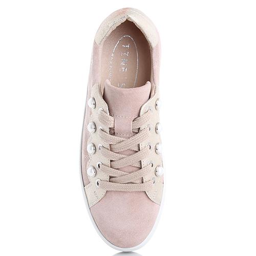 Замшевые кеды Tine's розового цвета на платформе, фото