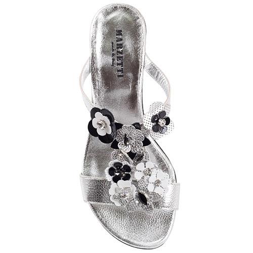 Босоножки из серебристой кожи Marzetti украшенные цветочками, фото