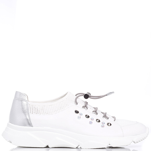 Белые кроссовки Tine's с декором-шипами, фото