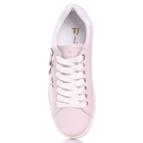 Розовые кроссовки Trussardi Jeans с аппликацией, фото