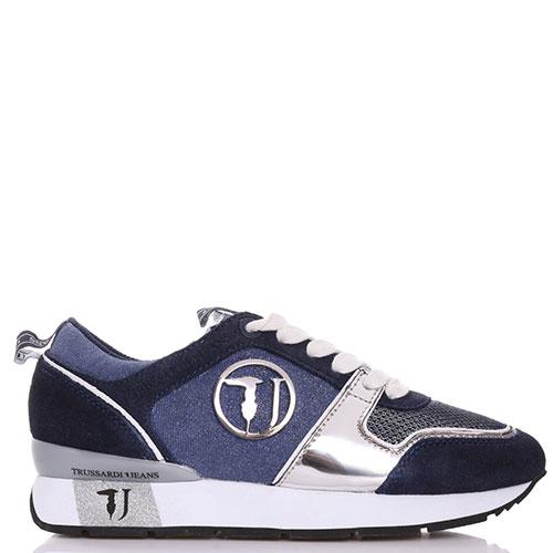 Синие кроссовки Trussardi Jeans с серебристыми элементами, фото