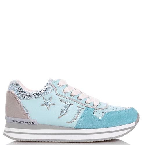 Мятные кроссовки Trussardi Jeans со звездочками, фото