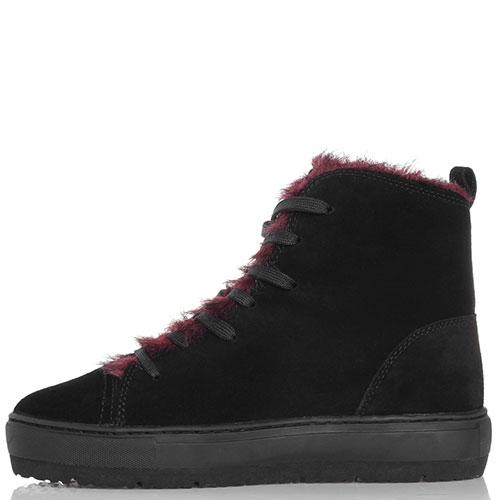 4bd28a59dc93 ☆ Нубуковые ботинки Armani Jeans черного цвета с бордовым мехом 540 ...