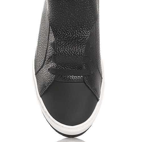 816900b0b97b ☆ Черные высокие кеды Armani Jeans из натуральной зернистой кожи ...