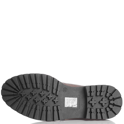 Кожаные ботинки Stokton золотистого цвета с меховым язычком, фото
