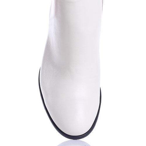 Кожаные белые ботильоны Gianni Famoso с закругленным носочком, фото