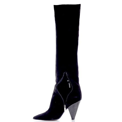 Черные сапоги Gianni Famoso на треугольном каблуке, фото