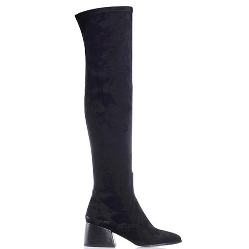 Черные ботфорты Gianni Famoso с острым носочком, фото