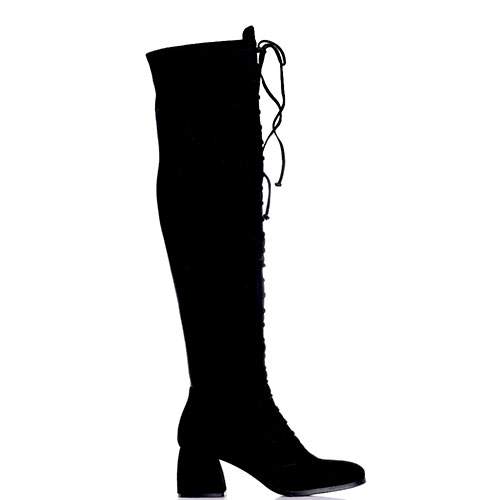 Черные сапоги-чулки Gianni Famoso с декоративной шнуровкой, фото