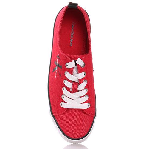 Текстильные кеды Calvin Klein красного цвета, фото