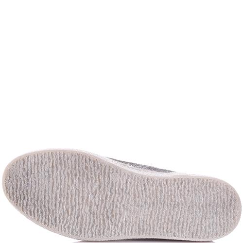 Серебристые кеды Nila&Nila с атласной шнуровкой, фото