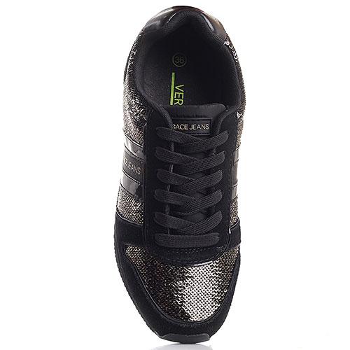 Кроссовки Versace Jeans черного цвета в золотистых пайетках, фото