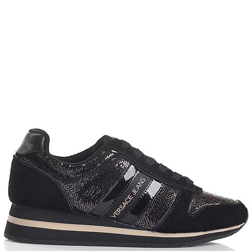 Черные кроссовки Versace Jeans в пайетках, фото