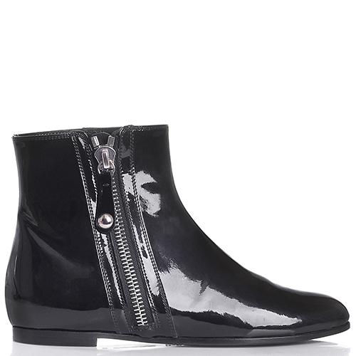Черные лаковые ботинки Gianvito Rossi на низком ходу, фото