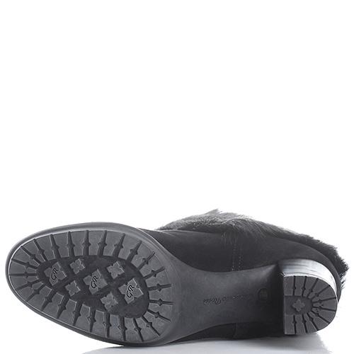 Черные полусапоги Gianvito Rossi из замши и меха, фото