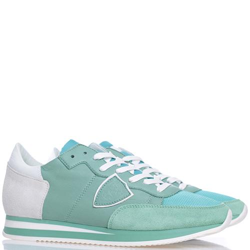 Женские кроссовки Philippe Model светло-зеленого цвета, фото