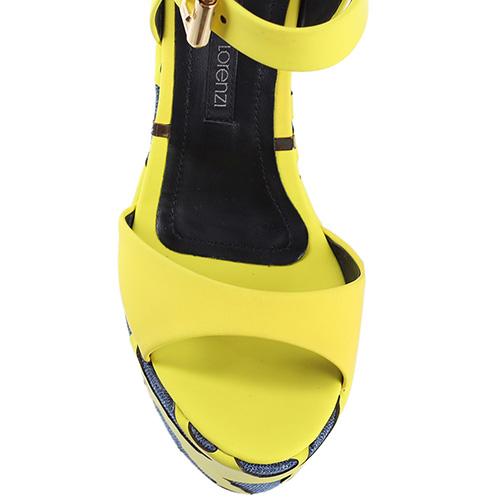 Босоножки Ginmarco Lorenzi на высокой танкетке желтого цвета, фото