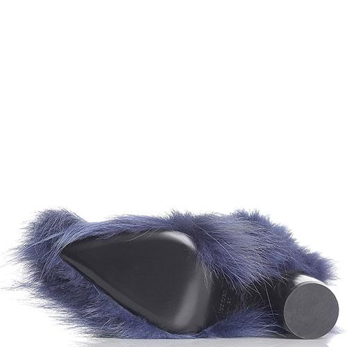 Меховые ботинки Strategia синего цвета с острым носком, фото