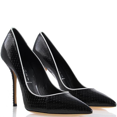 Туфли-лодочки Casadei лаковые черного цвета с белой окантовкой и фактурой кожи змеи, фото