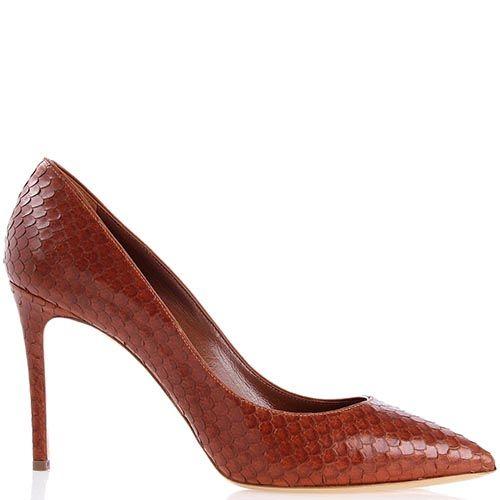 Туфли-лодочки Casadei коричневого цвета декорированные кожаными чешуйками, фото