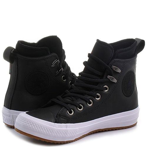 Высокие кеды черного цвета Converse из гладкой кожи, фото