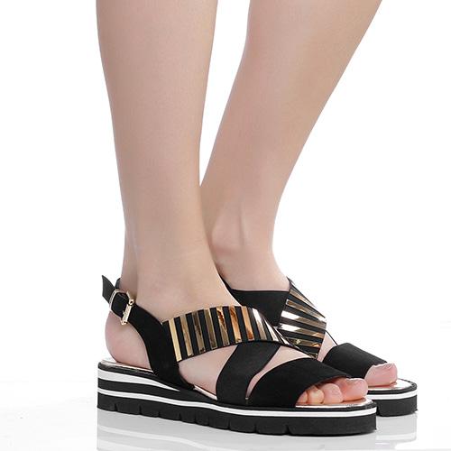 Черные сандалии Luca Grossi с золотистым декором, фото