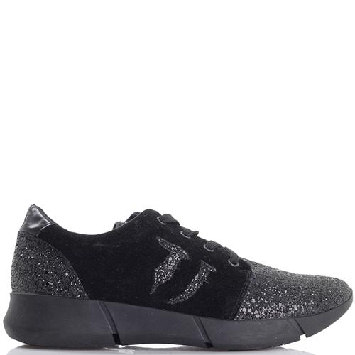 Черные кроссовки Trussardi Jeans с текстильными элементами, фото