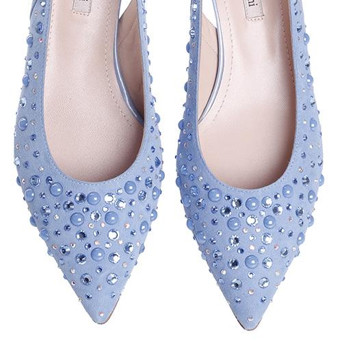 Голубые туфли Marino Fabiani с декором-стразами, фото