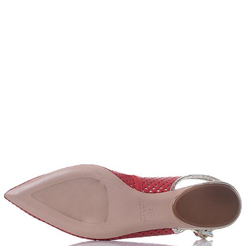 Красные балетки-слингбеки Dyva с перфорацией, фото