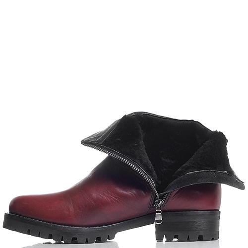 Бордовые кожаные ботинки Mally с декоративной цепочкой, фото