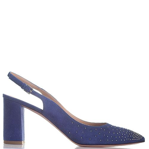 Замшевые туфли-слингбеки Dyva синего цвета с острым носком, фото
