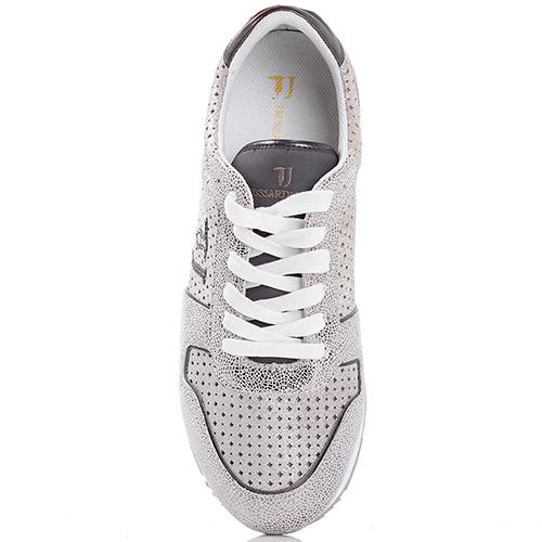 Белые кроссовки Trussardi Jeans из кожи с текстильными элементами, фото