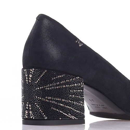 Черные туфли Marino Fabiani со стразами на каблуке, фото