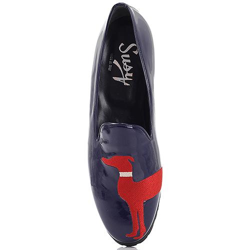 Синие лаковые туфли Susy на низком каблуке, фото