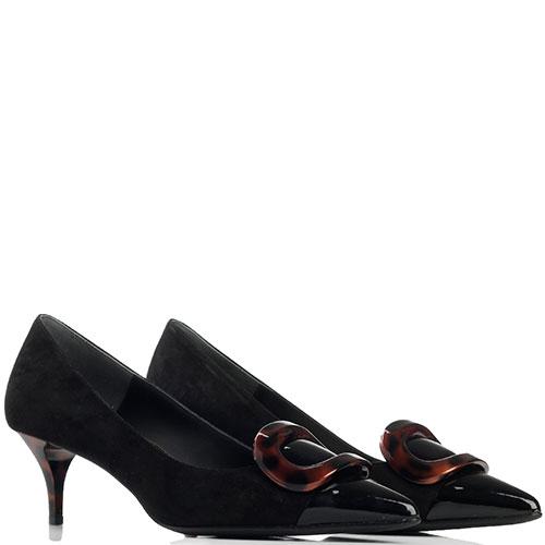 Замшевые туфли Loriblu с лаковым носочком, фото