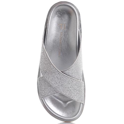 Шлепанцы Trussardi Jeans с серебристым глиттером, фото