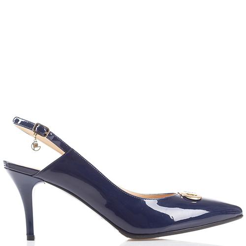 Лаковые туфли-слингбеки GiorgioPiergentili синего цвета, фото