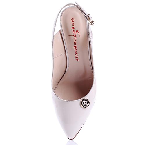 Белые туфли-слингбеки GiorgioPiergentili с острым носком, фото