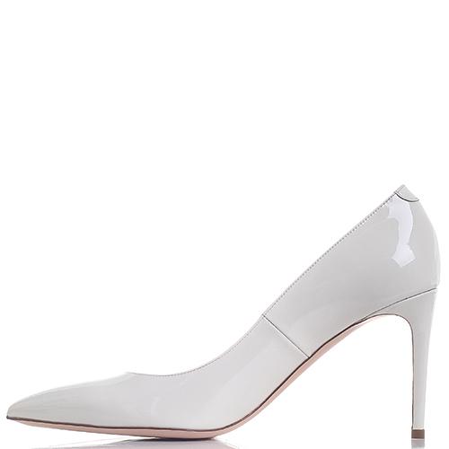 Туфли-лодочки Dyva из лаковой кожи белого цвета, фото