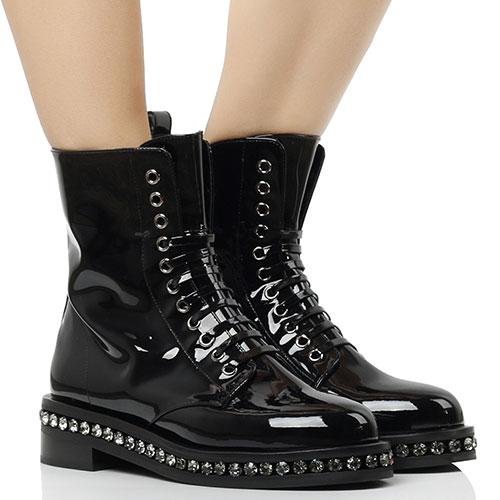 Лаковые ботинки Le Silla со стразами вдоль подошвы, фото