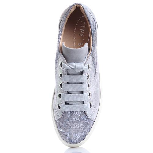 Кеды Tine's серебристого цвета на платформе, фото
